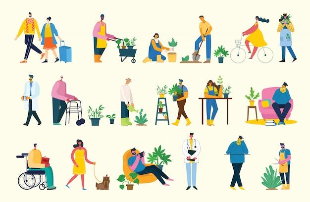 Prenez une illustration de collage de pause. les gens se reposent et boivent du café, utilisent une tablette sur une chaise et un canapé. style plat.