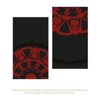 Préparation de carte de visite vectorielle avec place pour votre texte et ornement vintage. conception de carte de visite en noir avec des motifs de mandala rouges.