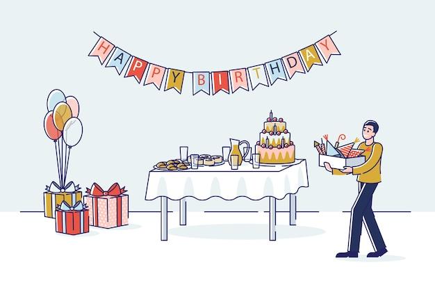 Préparation de fête d'anniversaire avec boîte de transport homme dessin animé