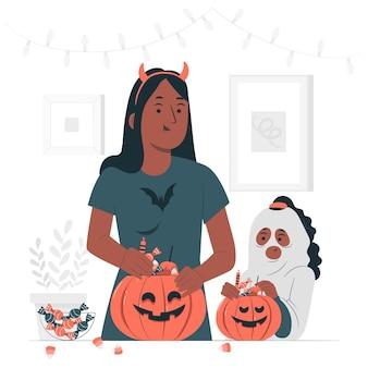 Préparation de l'illustration de concept de panier de bonbons halloween