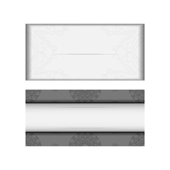 Préparation d'une invitation avec une place pour votre texte et ornement grec. modèle vectoriel pour carte postale de conception d'impression couleurs blanches avec ornement de mandala noir.