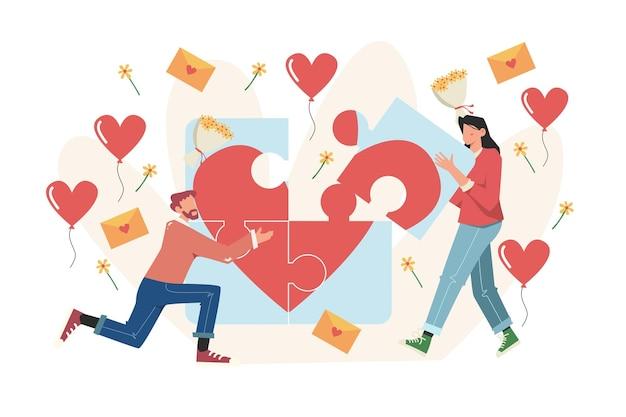 Préparation pour la saint-valentin travail d'équipe grand coeur amour vacances