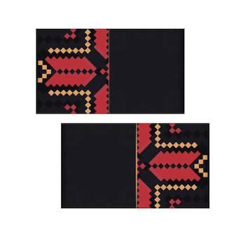 Préparation vectorielle de carte d'invitation avec place pour votre texte et ornement vintage. design de carte postale luxueux prêt à imprimer en noir avec des motifs slovènes.