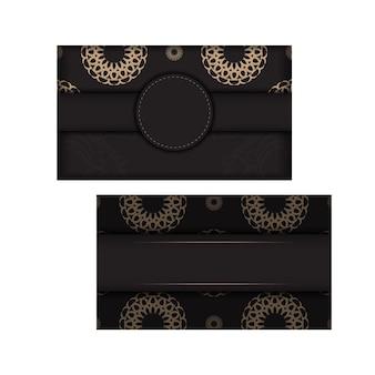 Préparer une carte de visite avec une place pour votre texte et vos ornements vintage. conception de carte de visite noire avec des motifs luxueux.