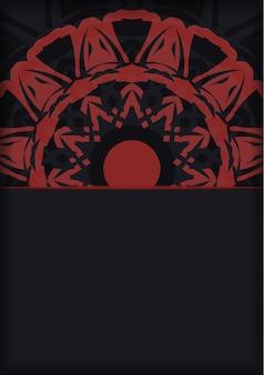 Préparer une invitation avec une place pour votre texte et vos ornements. vector vector template pour la conception d'impression carte postale couleurs noir avec ornement grec.