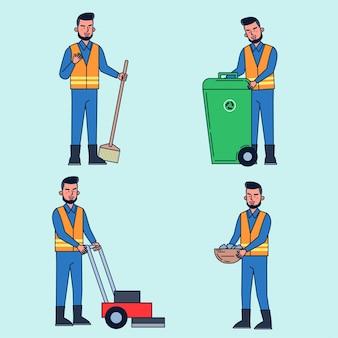 Le préposé au parc s'occupe du nettoyage, du nettoyage, du nettoyage, de la tonte, du jardinage. illustration plat