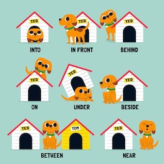 Préposition anglaise pour enfants avec chien