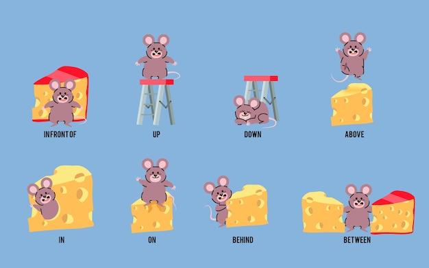 Prépositions anglaises illustrées avec la souris