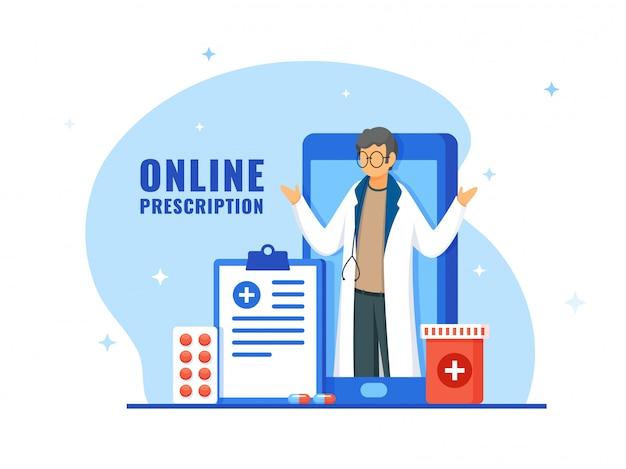 Prescription de médecin en ligne sur smartphone avec presse-papiers et médicaments sur fond blanc et bleu.