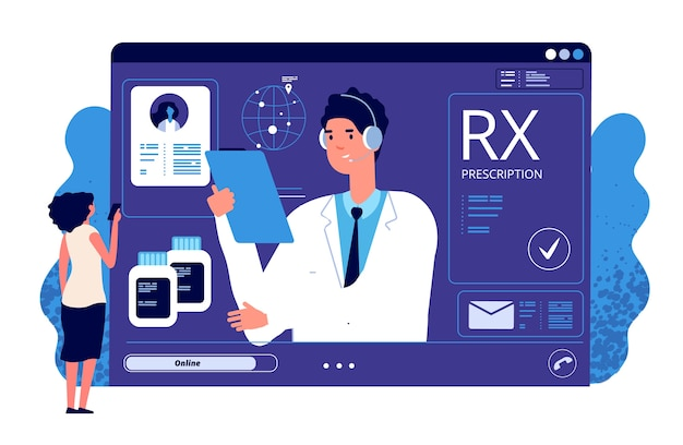 Prescription rx en ligne. application médicale, prescription en ligne. médecin de vecteur, patient, médicament analgésique