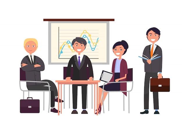 Présentateur sur séminaire, équipe de conférence d'affaires