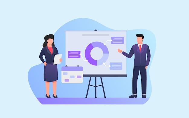 Présentation d'affaires avec homme et femme présentant un graphique et une analyse des données