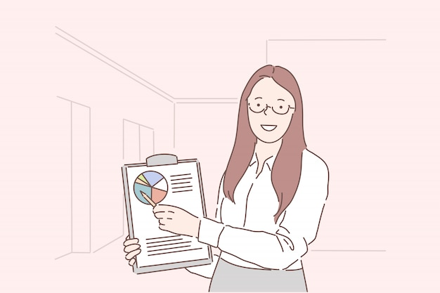 Présentation d'analyste de femme d'affaires jeune femme heureuse de la performance pour la période.