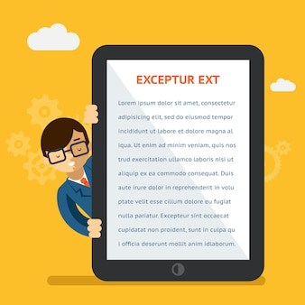 Présentation de l'application mobile ou du produit. homme d'affaires montrant du texte sur l'écran de la tablette. affichage numérique, montrant et tactile. illustration vectorielle