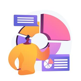 Présentation commerciale. analyse de données, camembert, visualisation d'infographie. analyse du rapport. caractère d'homme d'affaires analysant les statistiques.