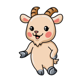 Présentation de dessin animé mignon bébé chèvre