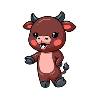 Présentation de dessin animé mignon bébé taureau