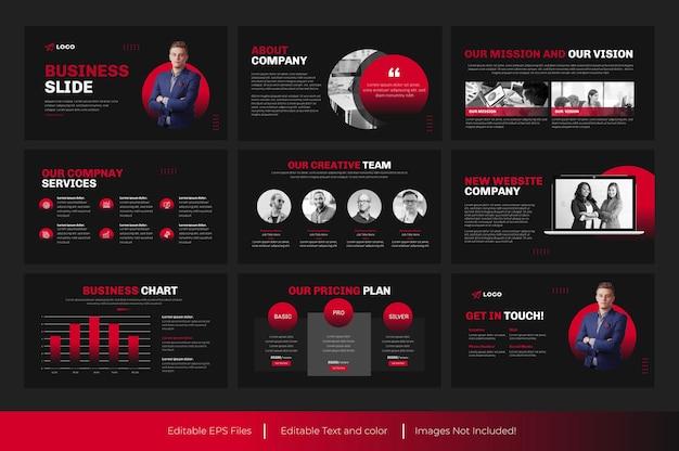 Présentation de diapositive powerpoint d'entreprise et présentation d'entreprise de couleur rouge template design