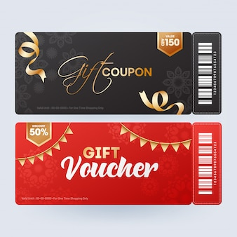 Présentation du coupon ou du bon cadeau avec différentes offres de réduction en t