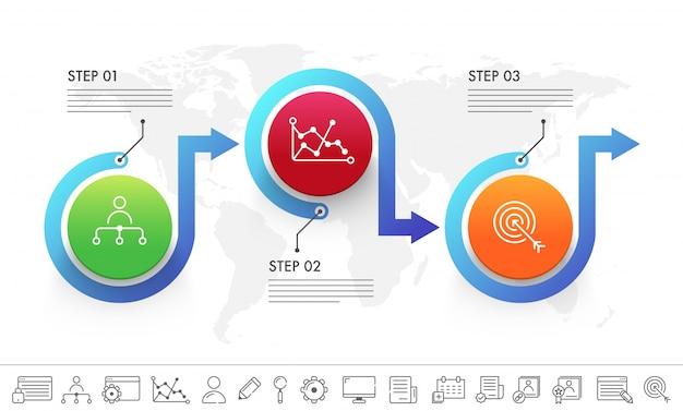 Présentation du modèle infographique commercial avec 3 étapes et icônes définies.
