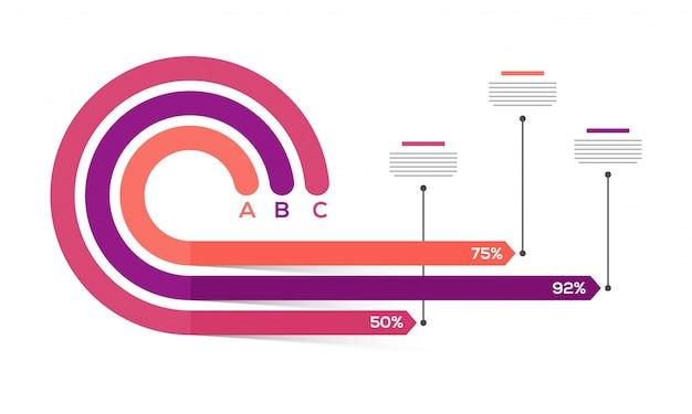 Présentation du modèle infographique commercial avec 3 étapes.