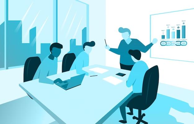 Présentation du plan marketing d'entreprise par le responsable avec l'équipe au bureau réunion illustration