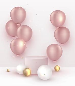 Présentation du produit avec décoration piédestal et ballons roses