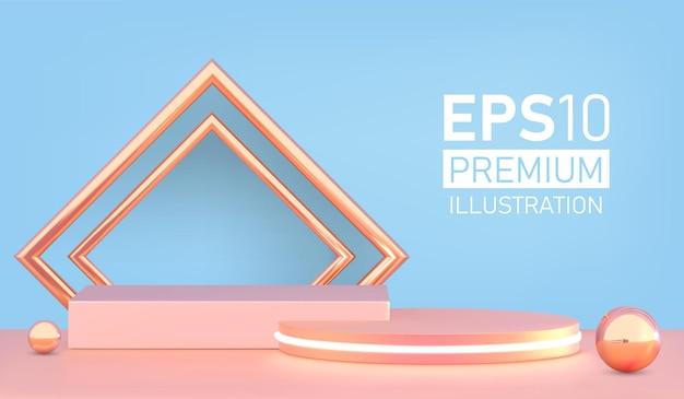 Présentation du produit, exposition de produits cosmétiques, podium, piédestal de scène ou plate-forme.
