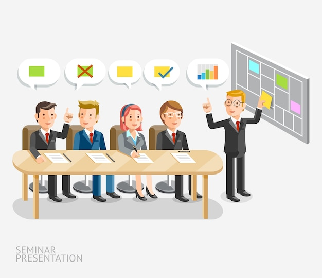 Présentation du séminaire conceptuel. réunion d'affaires avec modèle de bulle de dialogue.