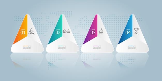 Présentation de l'élément infographie chronologie hexagonale avec icône d'entreprise 4 étapes fond d'illustration vectorielle