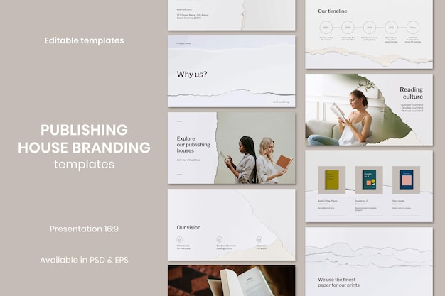 Présentation d'entreprise d'artisanat en papier déchiré de vecteur de modèle de maison d'édition minimal