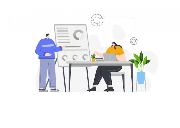 Présentation d'entreprise avec une donnée en illustration de concept