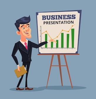 Présentation de l'entreprise homme d'affaires prospère illustration de dessin animé plat de formation commerciale