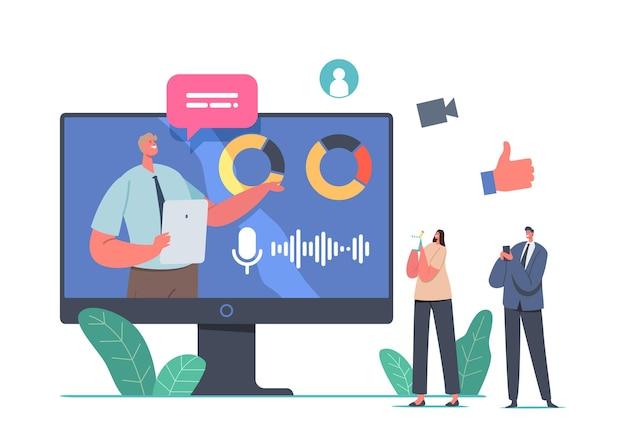 Présentation d'entreprise en ligne, personnages sur une formation ou un séminaire au bureau, un formateur donne une consultation financière virtuelle, des tableaux et des graphiques de statistiques d'analyse de données. illustration vectorielle de gens de dessin animé