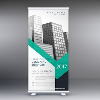 Présentation d'entreprise roll up banner standee template design