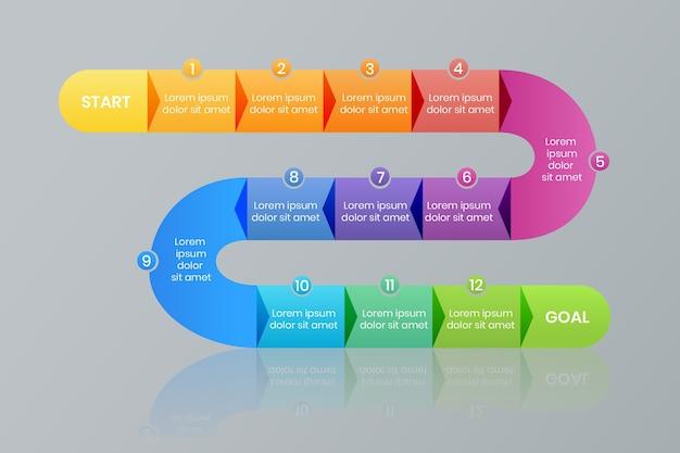 Présentation des étapes de la feuille de route modèles d'éléments infographiques