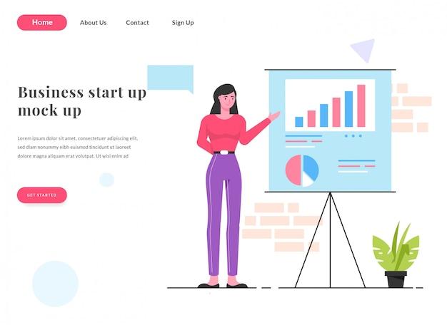 Présentation femme page de destination web