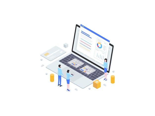 Présentation des finances illustration plate isométrique. convient pour les applications mobiles, les sites web, les bannières, les diagrammes, les infographies et autres éléments graphiques.