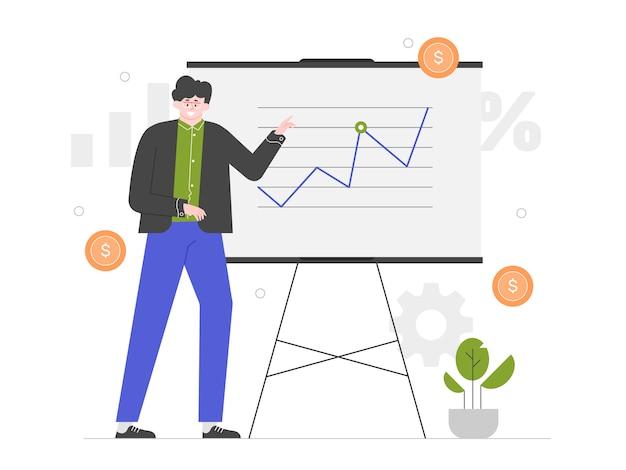 Présentation financière. l'homme se tient au tableau noir avec un graphique. stratégie d'entreprise. entraînement. entraîneur réussi. illustration plate.