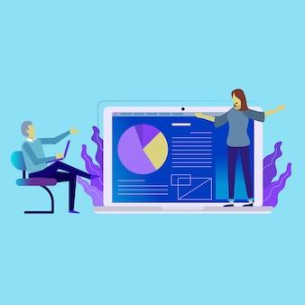 Présentation de gestion d'entreprise sur un ordinateur portable
