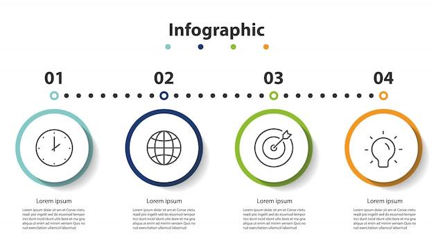 Présentation d'infographie en 4 étapes, cercle linéaire infographique