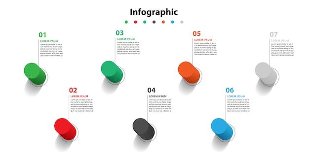 Présentation infographique en 5 étapes, bulle linéaire infographique