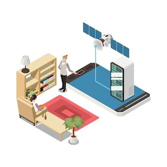 Présentation en ligne dans un salon avec smartphone et présentateur