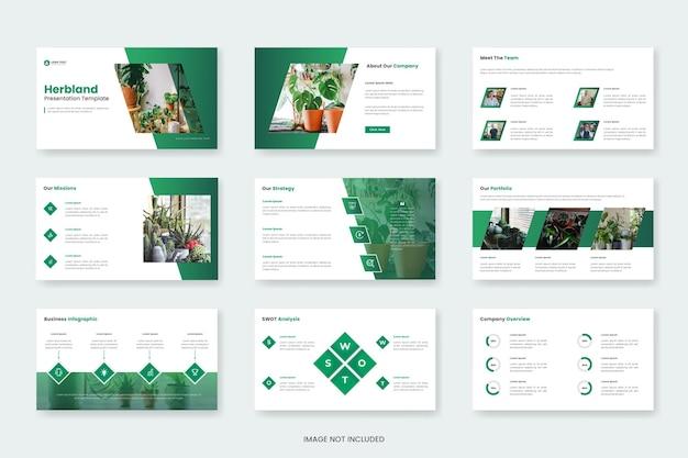 Présentation minimale de diapositives avec un modèle de diapositives de présentation herbland ou organique