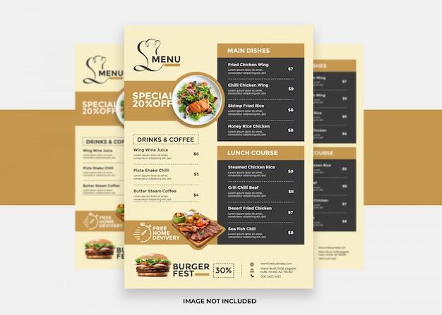 Présentation et modèle de conception de menu de restaurant propre et moderne