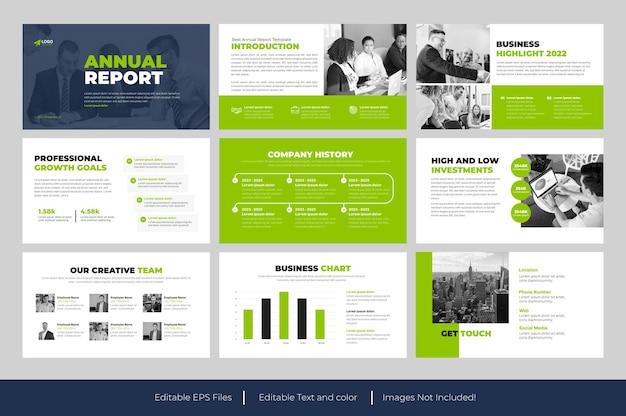Présentation powerpoint du rapport annuel ou diapositive de présentation du rapport annuel d'entreprise