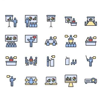 Présentation et réunion liées ensemble d'icônes