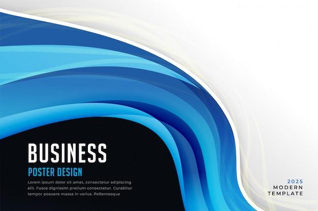 Présentation de la vague d'affaires bleu abstrait
