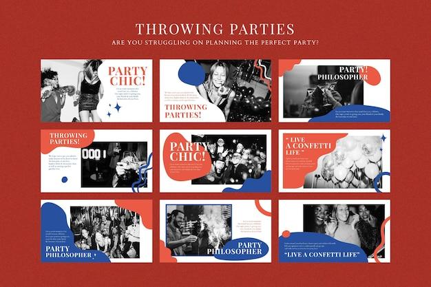 Présentation de vecteur de modèle de marketing d'événement de fête pour la collection d'organisateurs