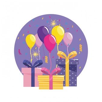 Présente des cadeaux avec des ballons et des confettis